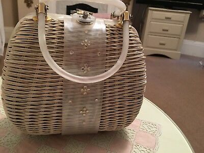 Vintage 50s Woven Wicker Handbag White