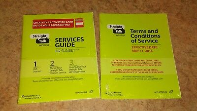 Lg Sunset Phone Service Guide Book Only Manual Terms Conditions Straight Talk