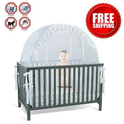 Baby Crib Tent Safety Net Pop Up Canopy Cover Secured and Safe Free Shipping NEW