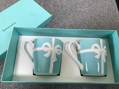 Tiffany & Co. Blue Ribbon Mug Cup 2pcs Set w/ Gift Box unused New F/S from japan