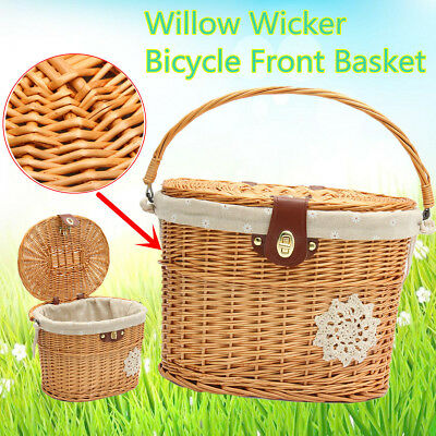 Retro Handcraft Wicker Bicycle Bike Front Picnic Basket Shopping Carry Box + Lid