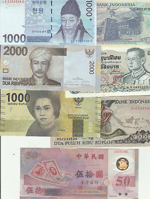Asia mix of 7 notes mostly EF or better