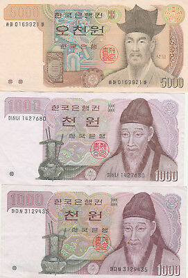 South Korea 5000,2x 1000 won vf +