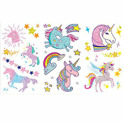 UNICORN GLITTER Temporary Kids Colour TATTOO Stickers - Party Bags Tattoos Gift