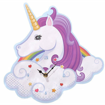 New Rainbow Unicorn Wall Clock Shaped Wooden Childrens Bedroom Feature 31cm x 30