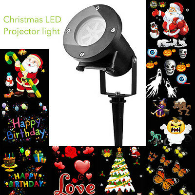 Outdoor Xmas LED Laser Landscape Projector Light 12 Slides Switchable Spotlight