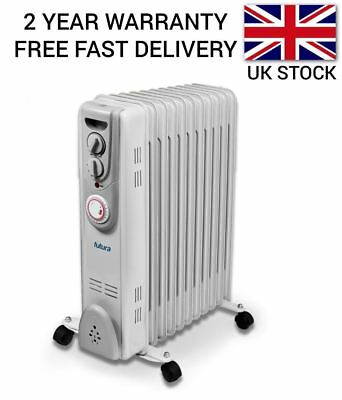 2.5Kw Portable Electric Oil Filled Radiator Heater Timer And Thermostat