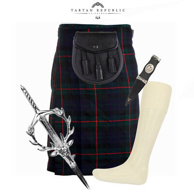 5 Piece Kilt Package With Pin Hose And Sporran - Sizes 30-44 - Gunn Modern