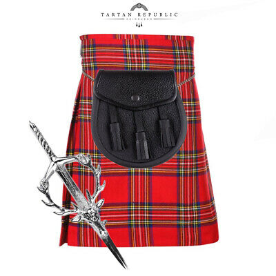 3 Piece Package - 5 Yard Kilt And Pin And Sporran -Sizes 30-44 - Royal Stewart