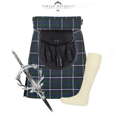 4 Piece Kilt Package With Pin Hose And Sporran - Sizes 30-44 - Douglas Blue