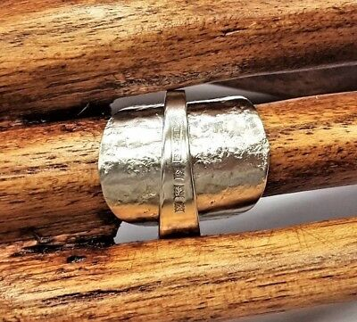 Solid sterling 925 silver hallmarked vintage 1959 hammered spoon ring SIZE L