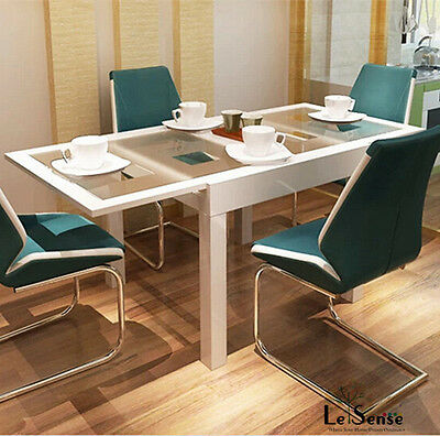 NEW High Gloss White Modern Extendable Dining Table Glass Top Dinning Furniture