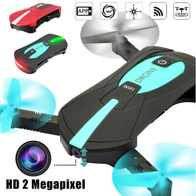 2 Megapixel Foldable WIFI FPV RC Pocket Drone Quadcopter HD Altitude Hold Selfie