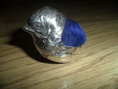Silver Plated Chick Pin Cushion, With Blue Velvet Back,