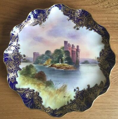 """Royal Doulton Caerlaverlock Castle 8"""" Hand Painted Cabinet  Plate Signed R Brown"""