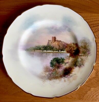 """Royal Doulton Castle Scene 8 3/4"""" Hand Painted Cabinet Plate Signed E Bailey"""
