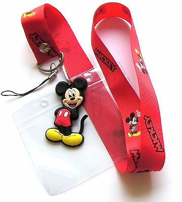 * Disney Lanyard Mickey Mouse Lanyard With Charm With Pass holder * UK