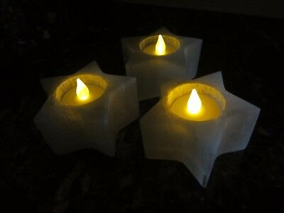 Lot of 3 Polished SELENITE STAR TEALIGHT CANDLE HOLDER Morocco 836g