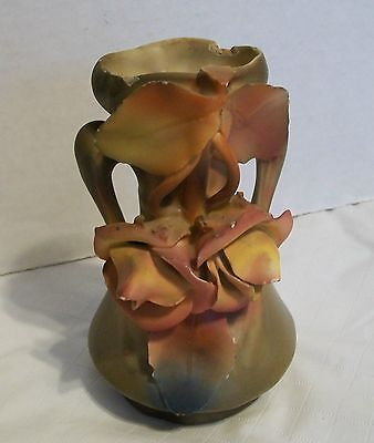 "Antique Vase Austria Royal Dux Pink Orange Flowers and Leaves 5-1/4"" tall"