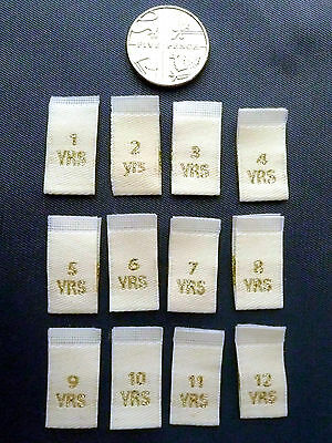 30 x Choose Age 1 - 12 Children's Clothing Labels Woven Cream Folded Gold Text