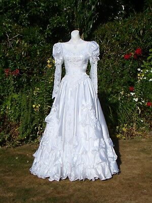 NEW EDWARDIAN  Wedding dress 8 10 LACE PEARL SATIN FRILLS WHITE VTG 80 HALLOWEEN