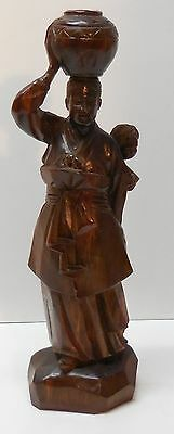 Hand Carved Wood Asian Woman with Basket on Head and Child in Papoose Vintage