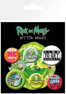 RICK AND MORTY Quotes (6) PIN BADGES NEW CARDED BAGGED Official Merchandise
