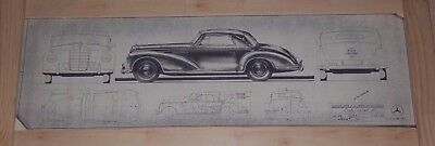 POSTER - Mercedes Benz 300S Cabriolet - Facsimile factory plan drawing
