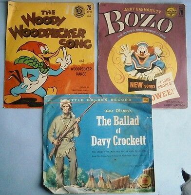 Woody Woodpecker, Bozo, and Davy Crockett Golden Records in original sleeves