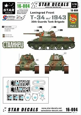 Star Decals waterslide decal sheet Russian T-34 model/1943 1/16 scale