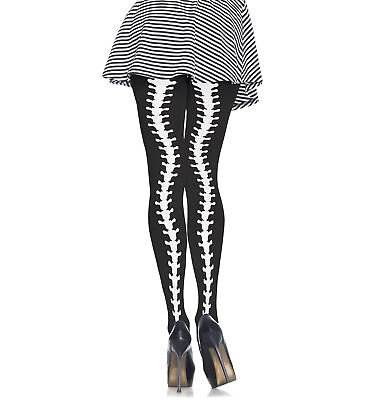 Opaque Contrast Spine Day of The Dead Women Costume Thigh Highs Pantyhose