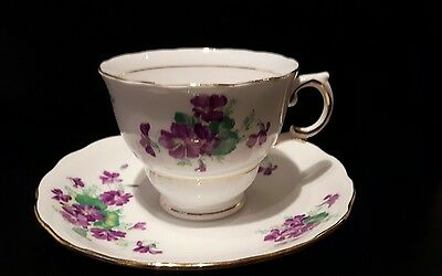 Colclough tea cup and saucer bone china marked purple flower excellent condition