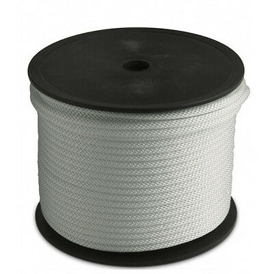"""Solid Braid Rope (#8)  1/4"""" x 1000ft  White Utility Cord"""