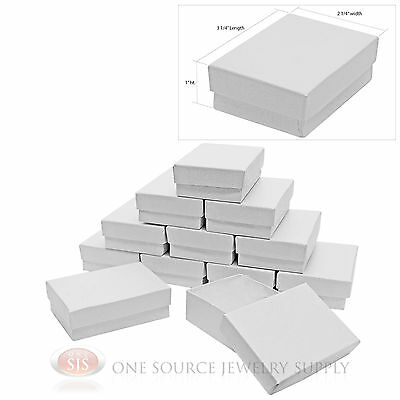 "12 White Swirl Cardboard Cotton Filled Jewelry Gift Boxes 3 1/4"" X 2 1/4"" X 1"""
