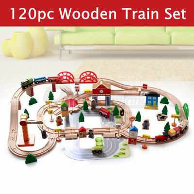 120pc Deluxe Wooden Train Track Railway Transportation Set Pretend Play Toy