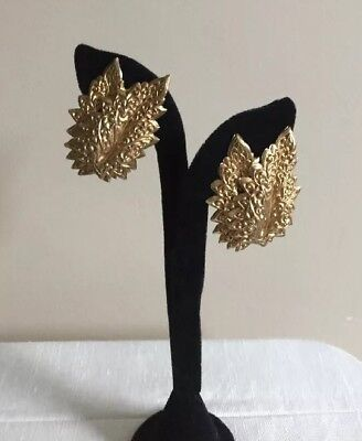 Vtg DOMINIQUE AURIENTIS PARIS Signed Haute Couture Leaves Clip Earrings