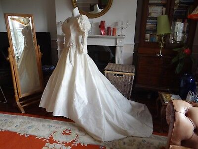 NEW EDWARDIAN  TUDOR Wedding dress 10 12 CREAM SILK EMBROIDERED VTG 80 HALLOWEEN