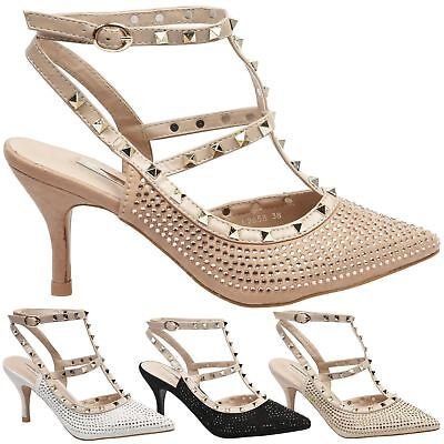 Alisha Womens Low Mid Heels Studded Diamante Pointed Toe Shoes Ladies Pumps Size