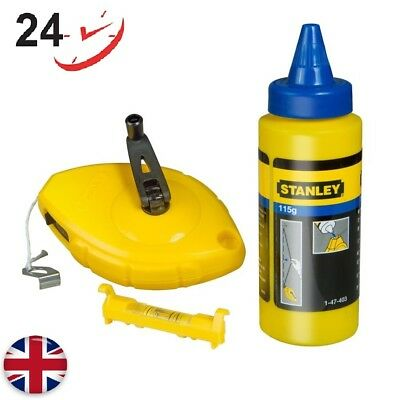 Stanley Chalk Line 30m Chalk & Level High Impact ABS for Durability - Blue New