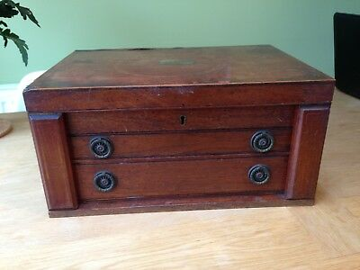 Vintage Oak Cutlery Canteen Storage Box
