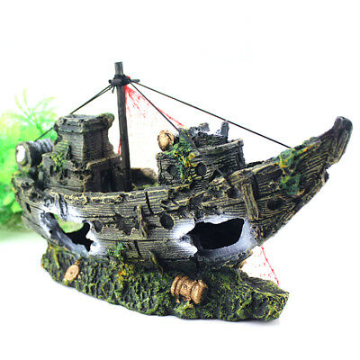 Simulation Lifelike Wrecked Sailing Boat Sunk Ship Fish Tank Aquarium Supplies