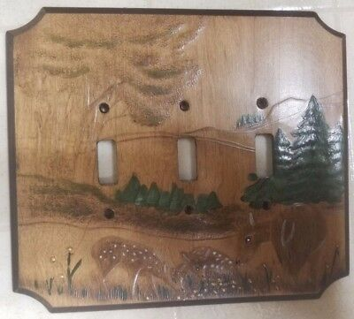 2-Large Vintage Rustic Cabin Embossed Wooden Switch Plate  Covers