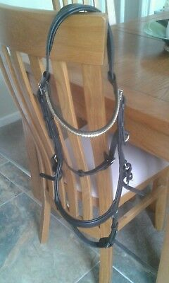 Micklem black competition bridle standard horse 2 browbands
