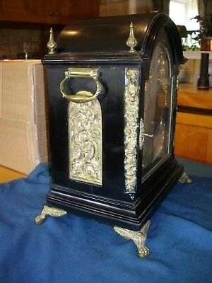 Good English musical triple chain fusee 8 bell bracket clock with 9 bells