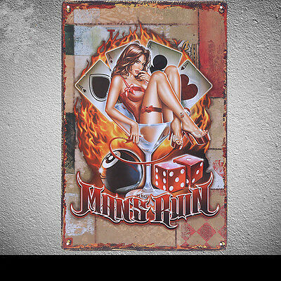Sexy Beer Lady Mans Ruin Tin Poster Vintage Metal Sign Bar Wall Decor G2 8x12