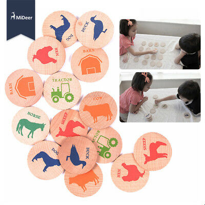 Wooden Puzzle Kids Memory Match Game Stacks Animals Buildings Numerals Vehicles