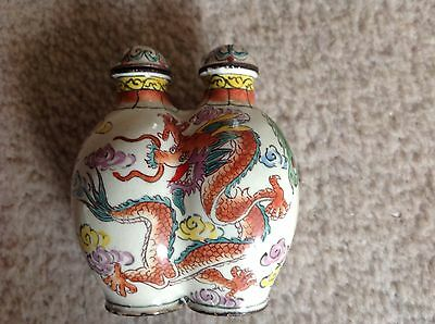 chinese Porcelain snuff bottle with dragons on front and Bird on reverse, signed