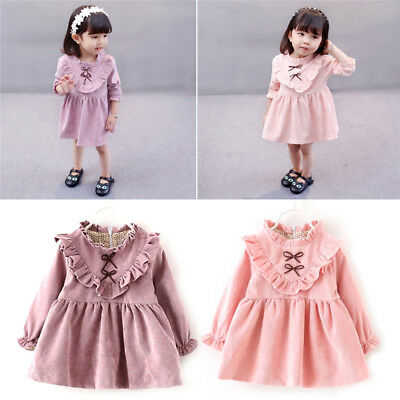 Newborn Baby Girl Kids Dress Long Sleeve Autumn Coat Tops Retro Victorian Party