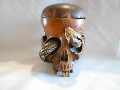 Japanese Hardwood Skull  Tobacco Jar With Snake Very Rare