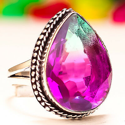 Bi-Color Tourmaline Gemstone 925 Sterling Silver Jewelery Ring 9